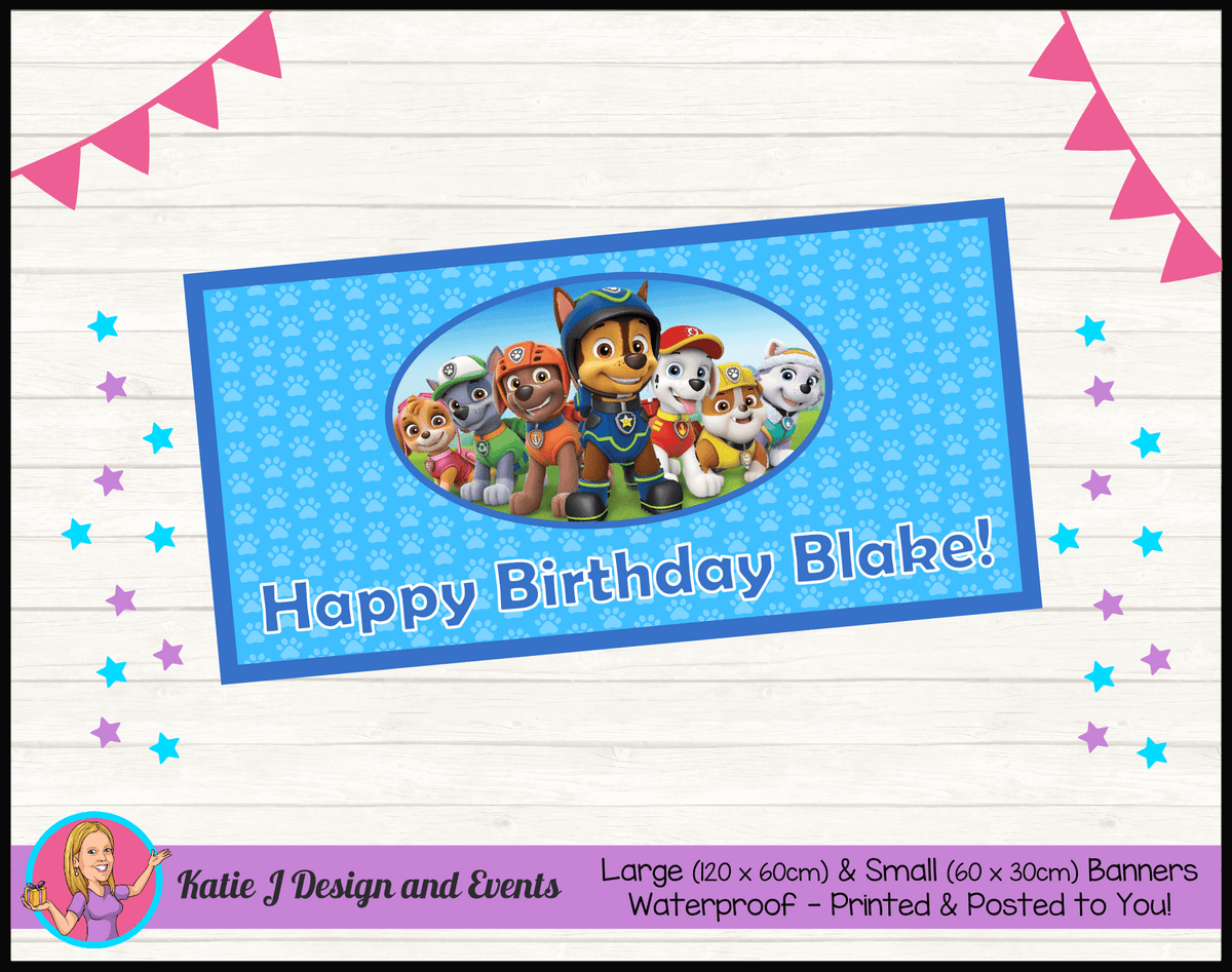 Personalised Boys Paw Patrol Birthday Party Banner