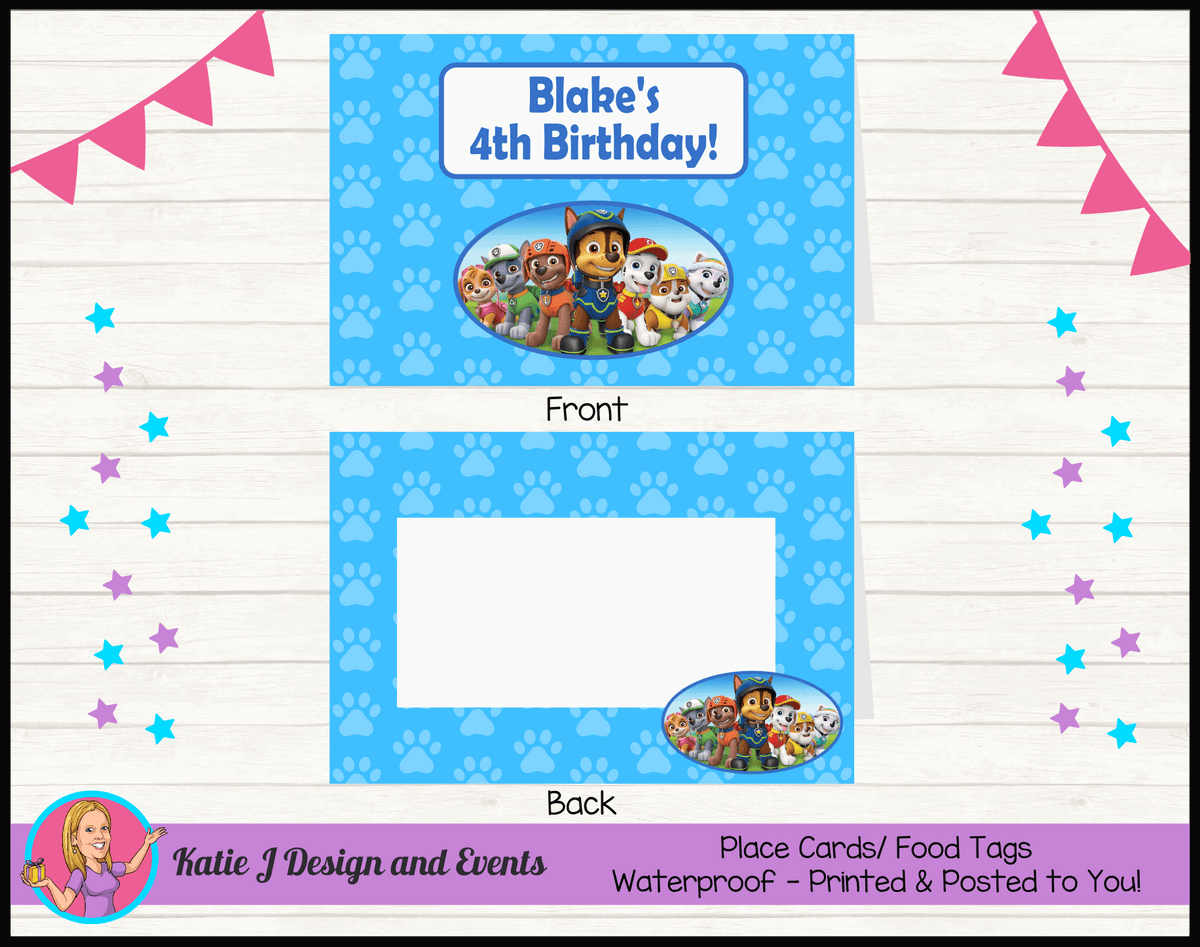 Personalised Boys Paw Patrol Party Place Cards
