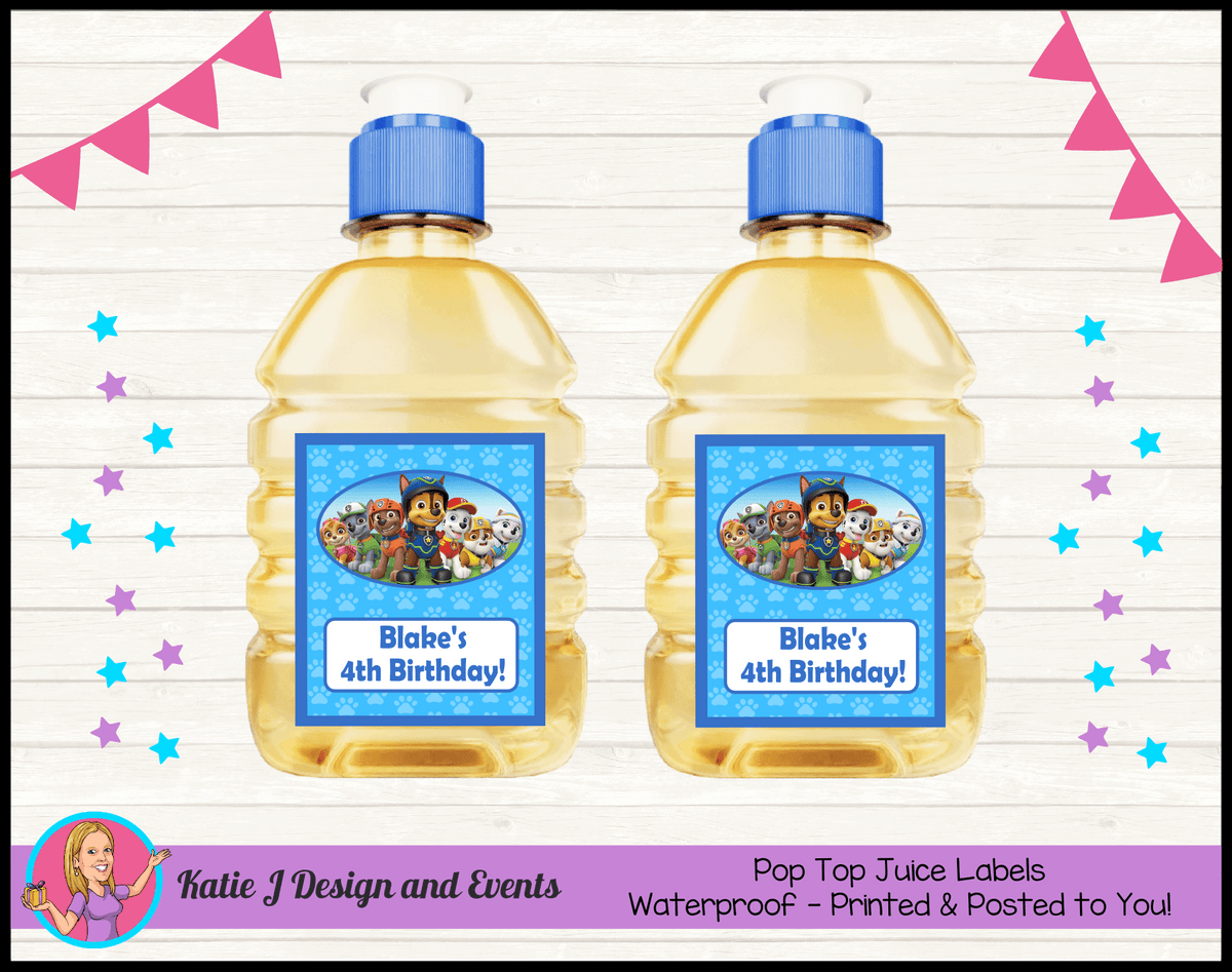 Personalised Boys Paw Patrol Pop Top Juice Labels