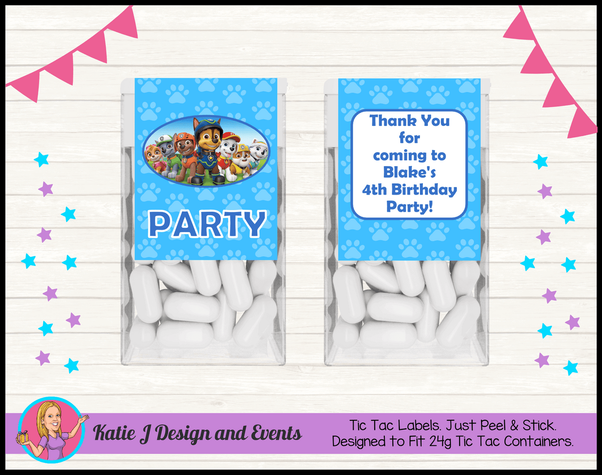Personalised Boys Paw Patrol Tic Tac Mint Labels