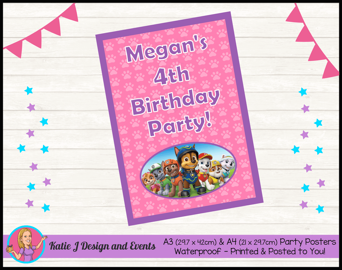 Personalised Girls Paw Patrol Birthday Party Poster