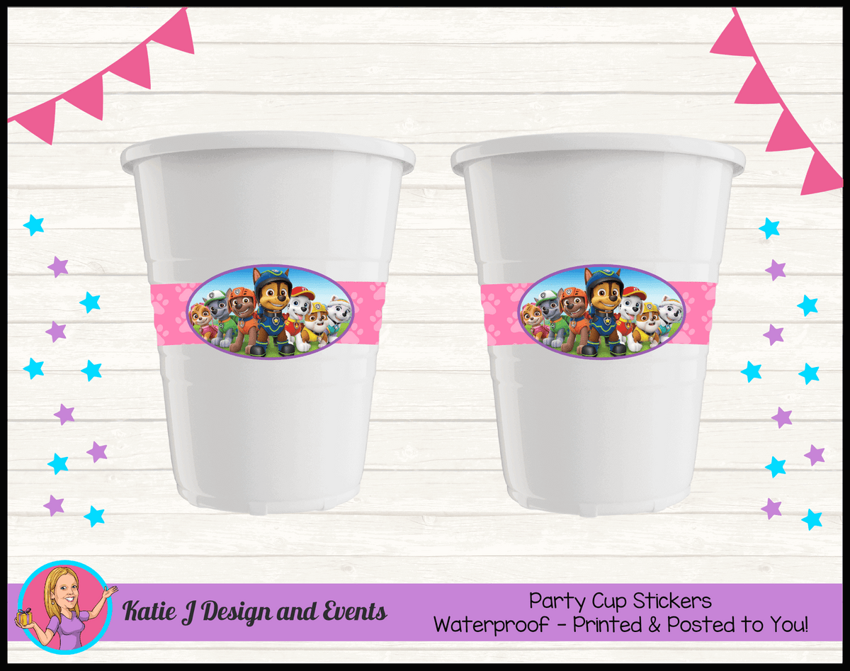 Personalised Girls Paw Patrol Party Cup Stickers Cups
