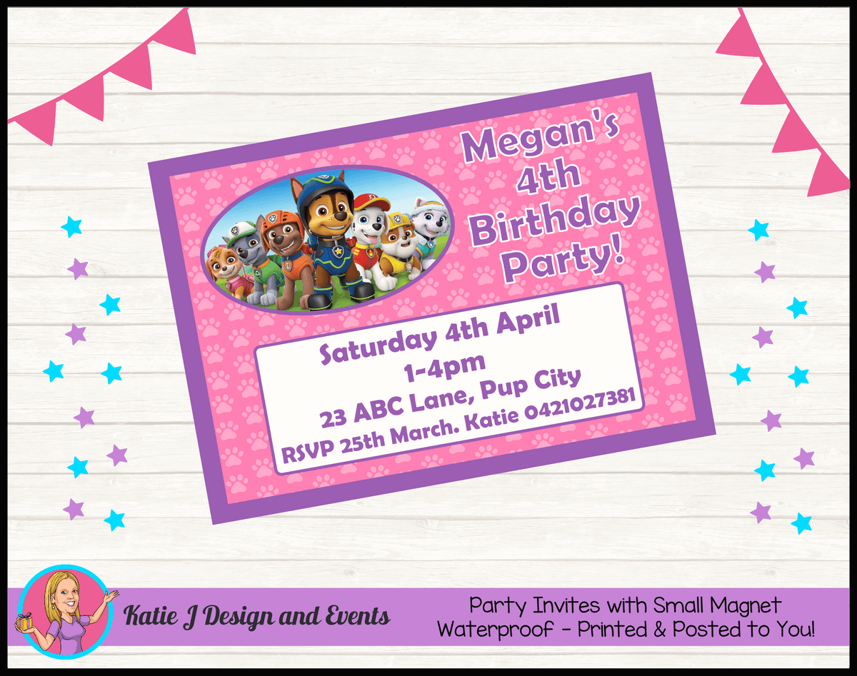 Personalised Girls Paw Patrol Birthday Party Invites Invitations
