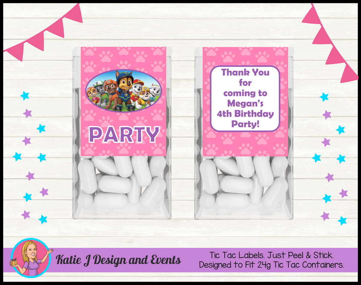 Personalised Girls Paw Patrol Tic Tac Mint Labels