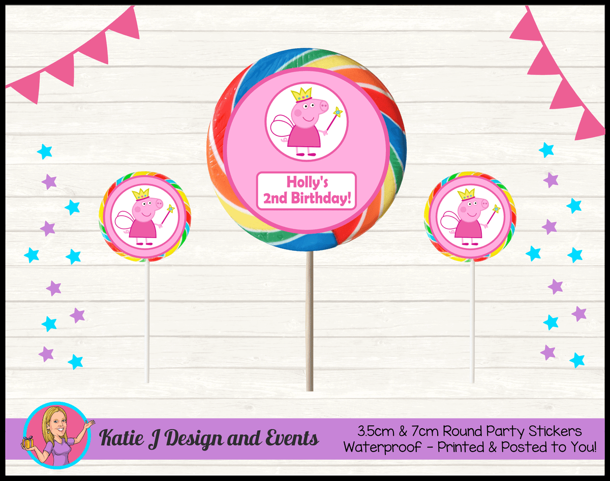 Peppa Pig Fairy Princess Personalised Birthday Party Round Lollipop Stickers