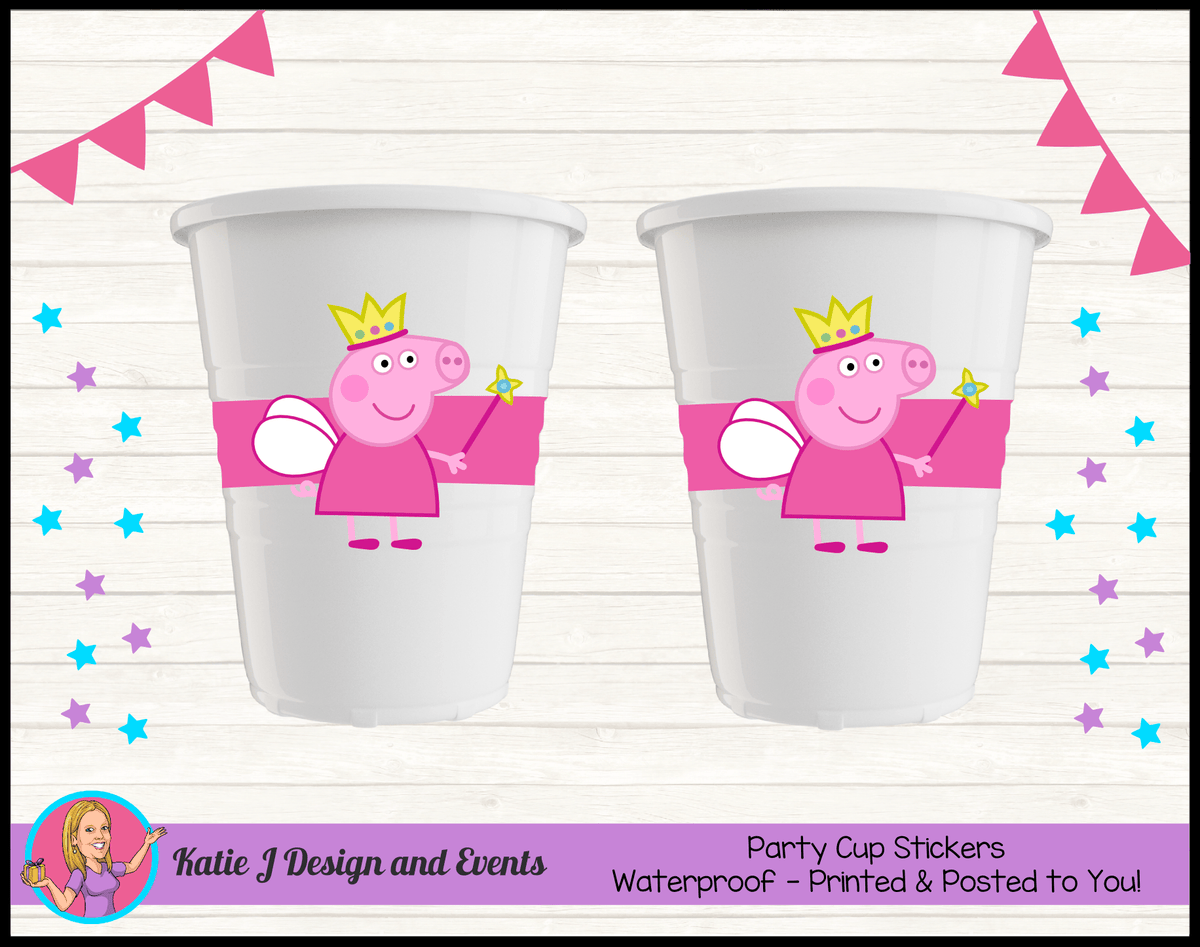 Peppa Pig Fairy Princess Personalised Birthday Party Cup Stickers Cups