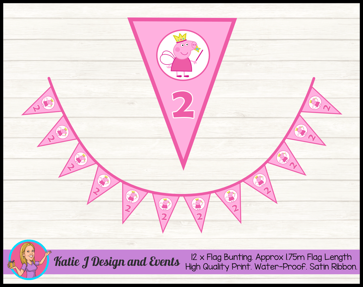 Peppa Pig Fairy Princess Personalised Birthday Party Flag Bunting