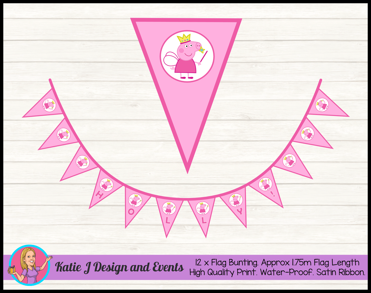 Peppa Pig Fairy Princess Personalised Birthday Party Flag Bunting Name