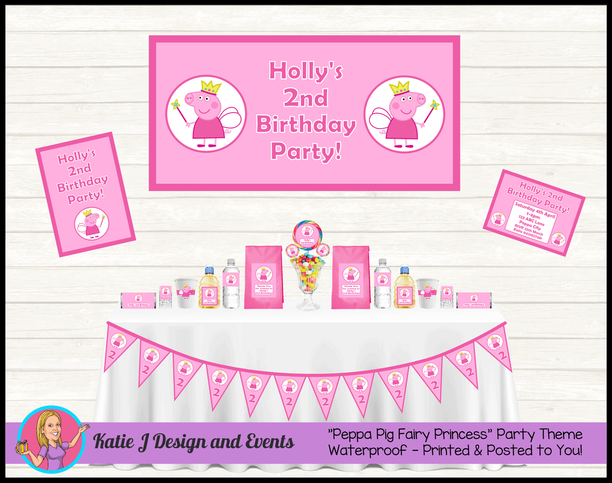 Personalised Peppa Pig Fairy Princess Party Packs Decorations Supplies