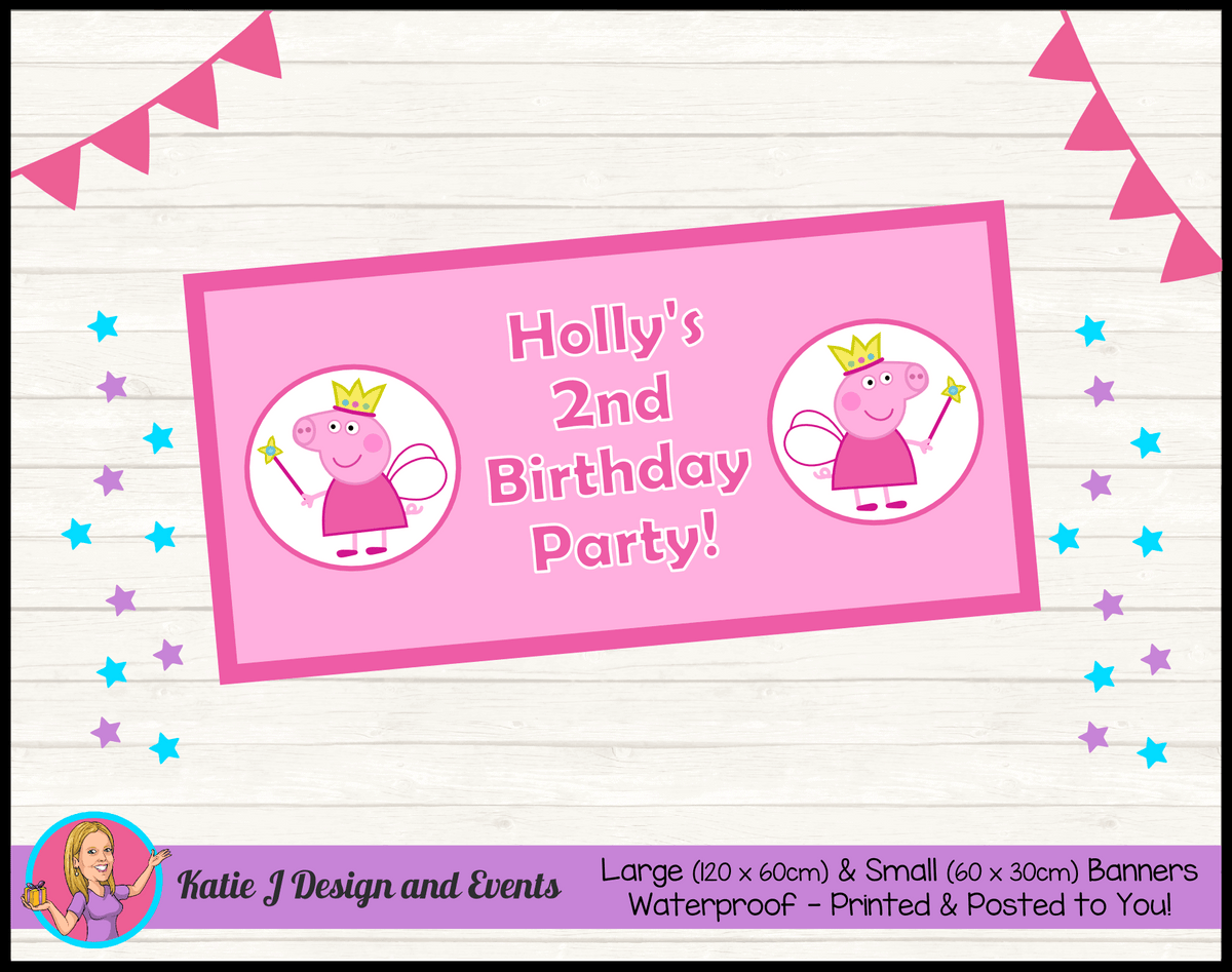 Peppa Pig Fairy Princess Personalised Birthday Party Banners