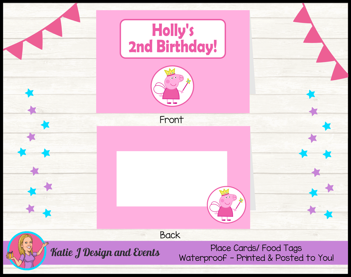 Peppa Pig Fairy Princess Personalised Birthday Party Place Cards