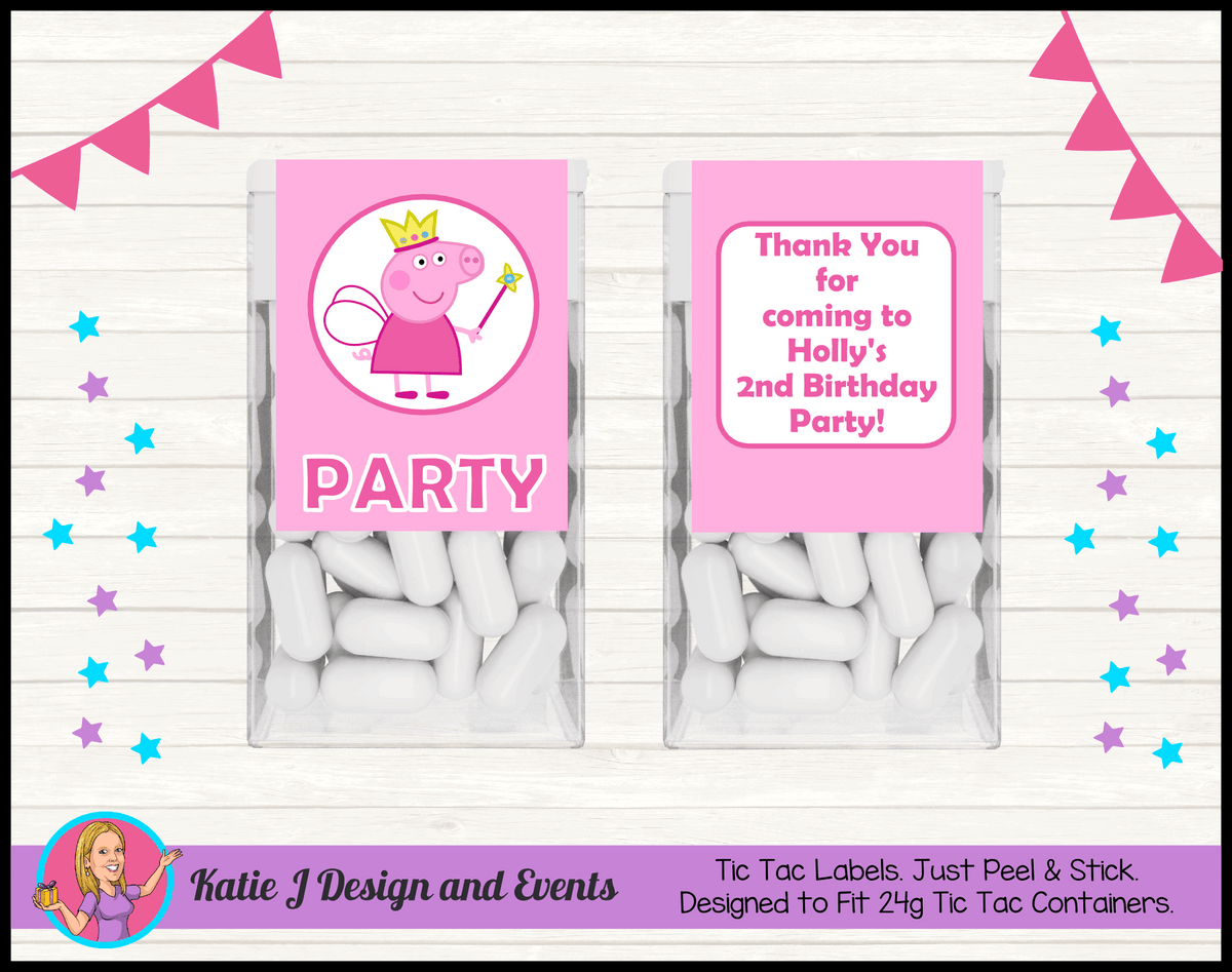 Peppa Pig Fairy Princess Personalised Birthday Party Tic Tac Mint Labels