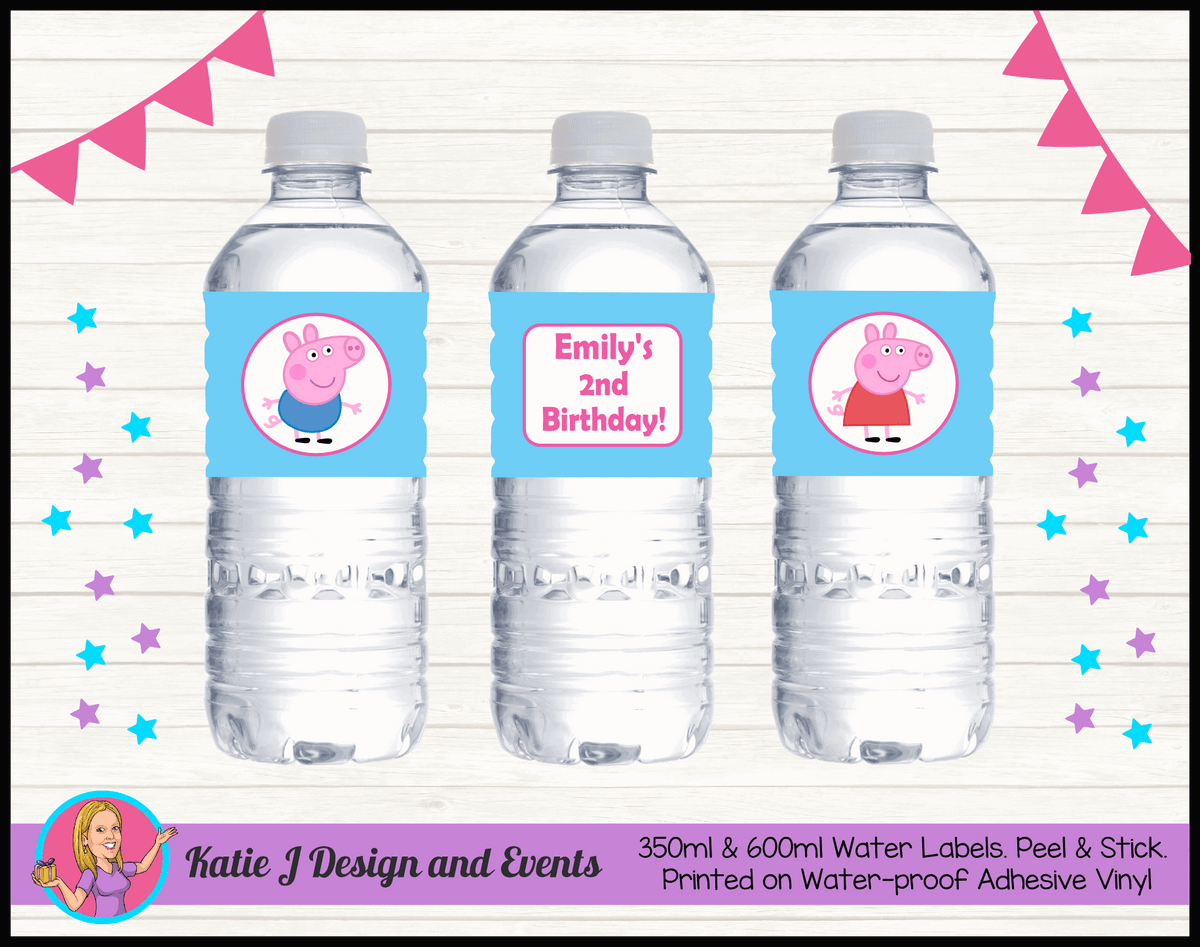 Personalised Peppa & George Pig Party Water Labels