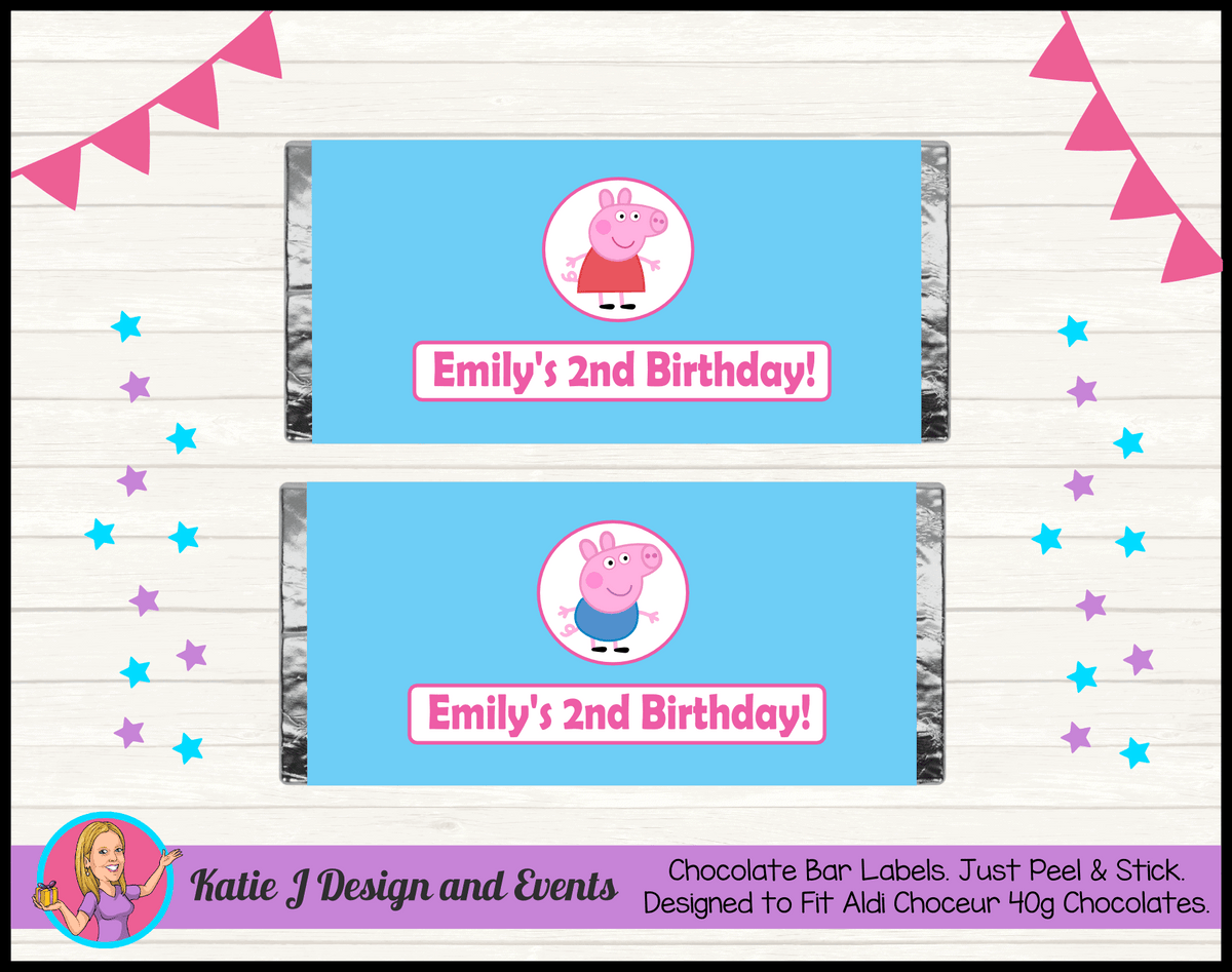Personalised Peppa & George Pig Chocolate Labels Wrappers