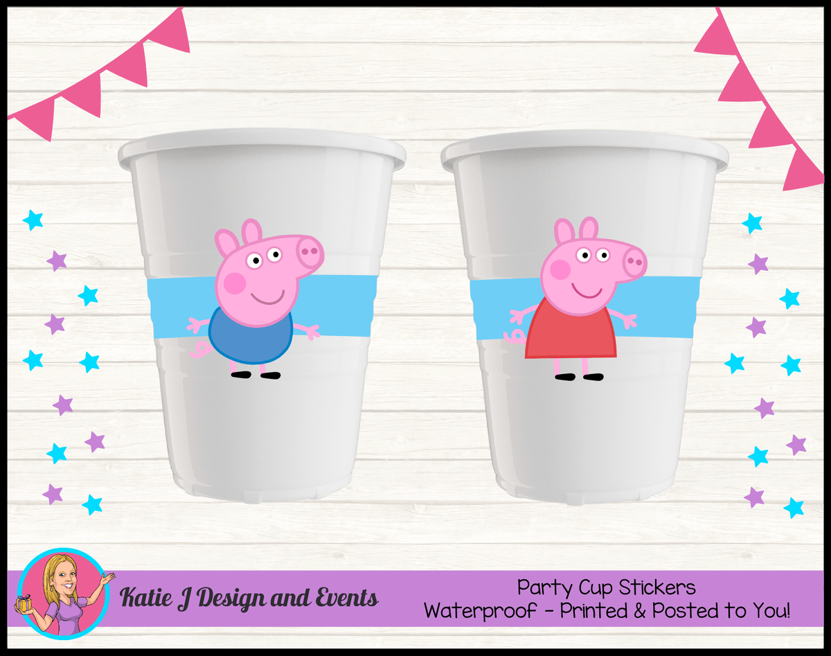 Personalised Peppa & George Pig Party Cup Stickers Cups