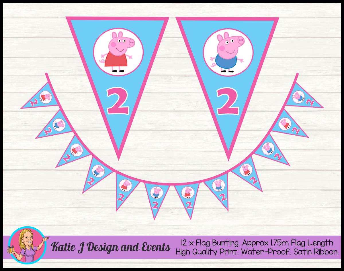 Personalised Peppa & George Pig Birthday Party Flag Bunting