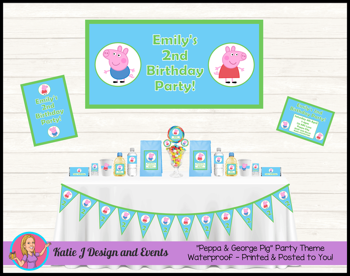 Personalised Boys Peppa & George Pig Party Packs Decorations Supplies