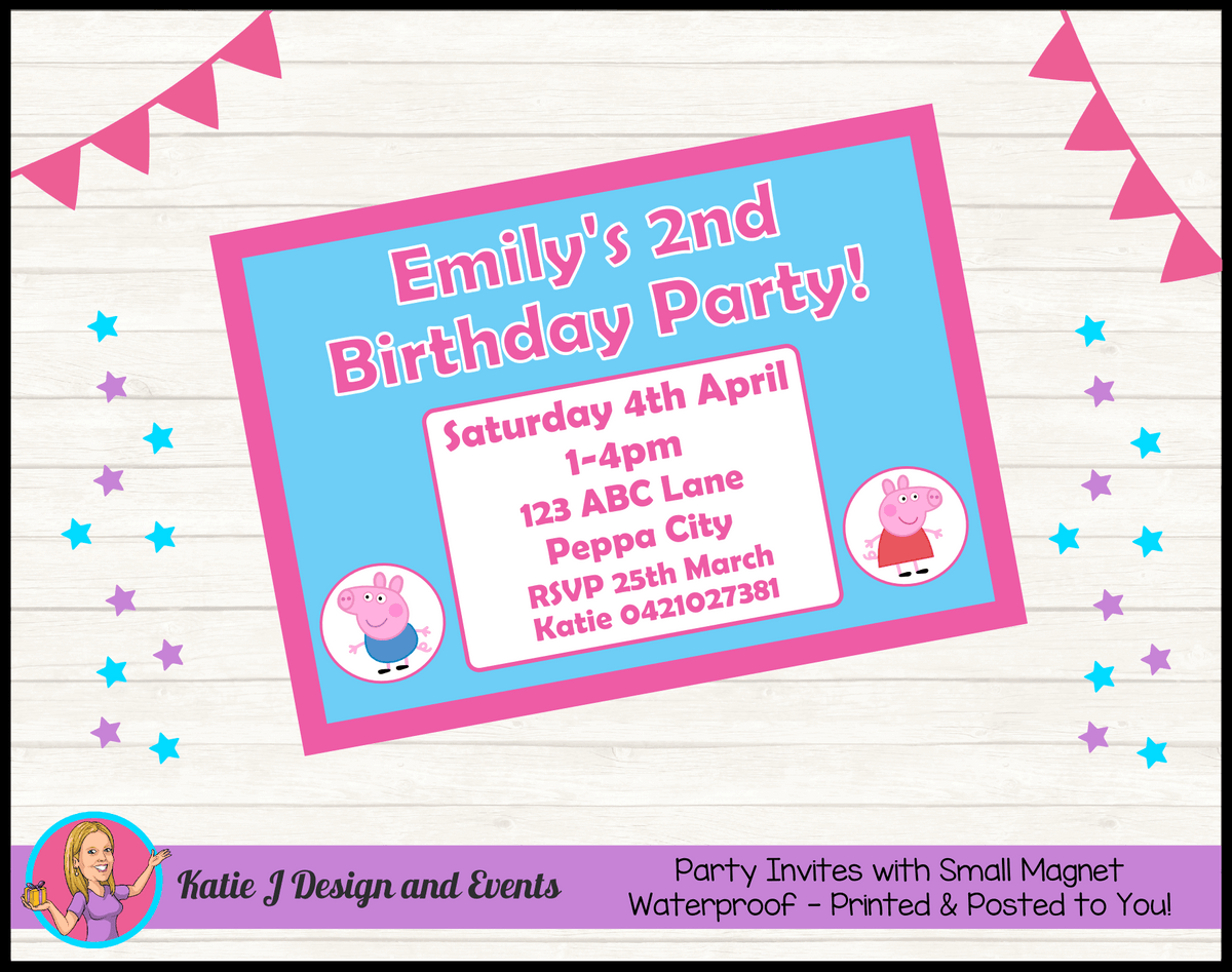 Personalised Peppa & George Pig Birthday Party Invites Invitations