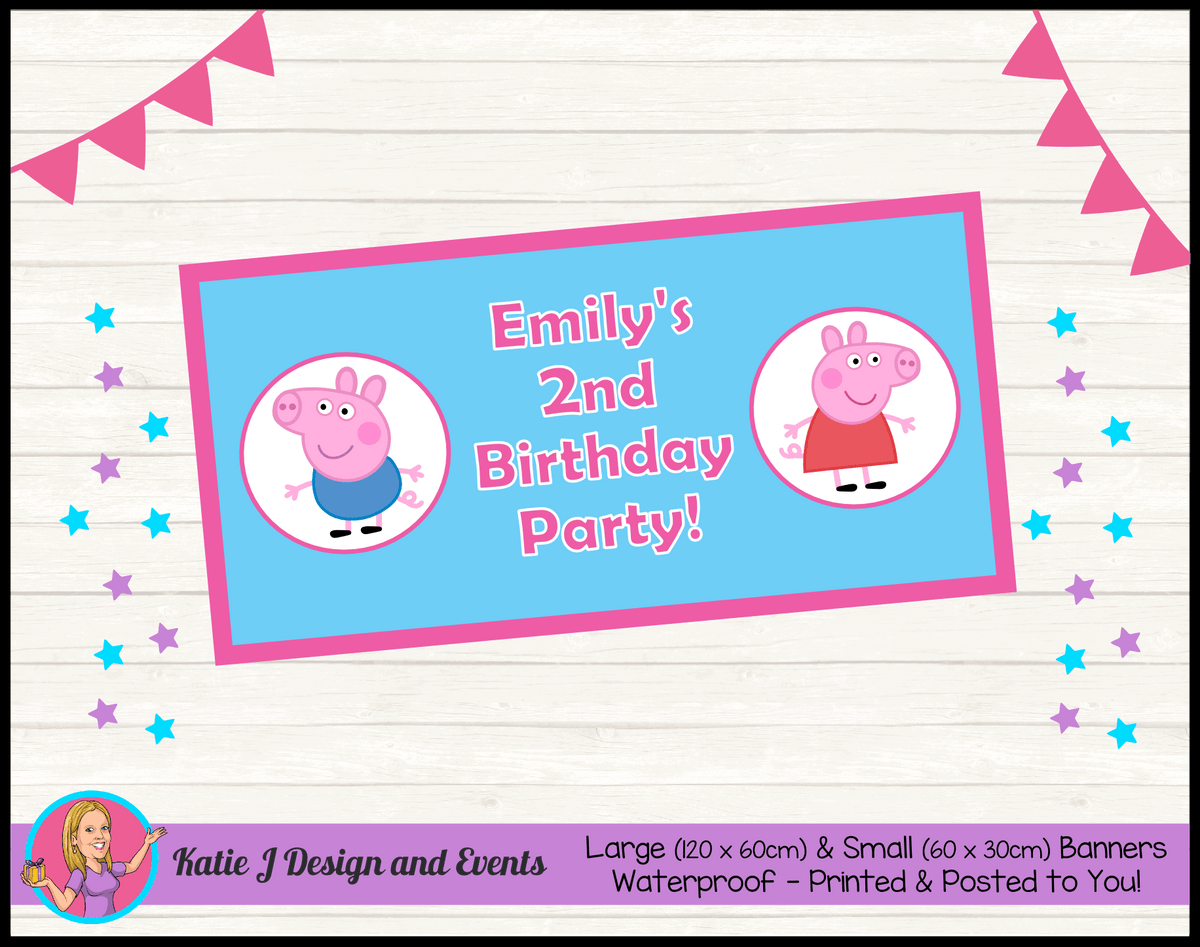 Personalised Peppa & George Pig Birthday Party Banner