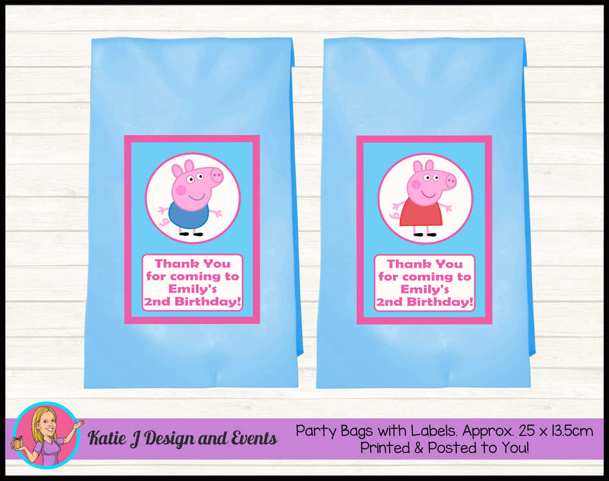 Personalised Peppa & George Pig Birthday Party Loot Bags