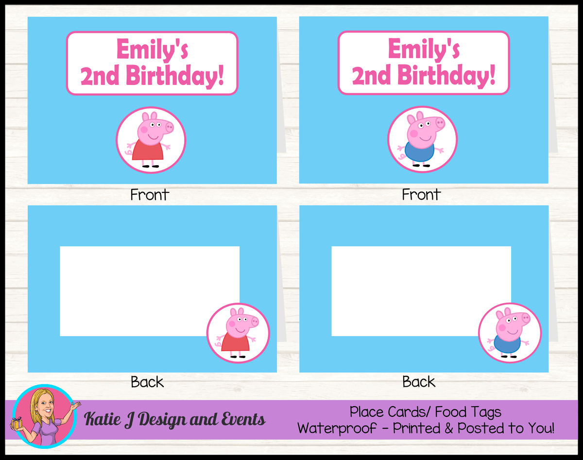 Personalised Peppa & George Pig Party Place Cards