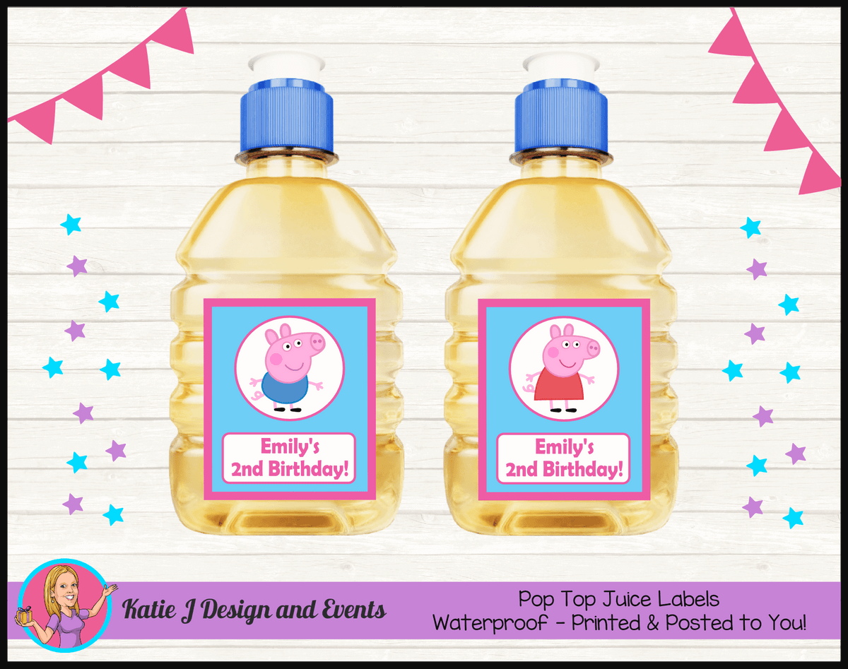 Personalised Peppa & George Pig Pop Top Juice Labels