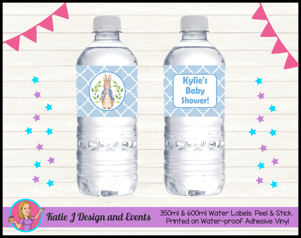 Personalised Peter Rabbit Baby Shower Water Labels