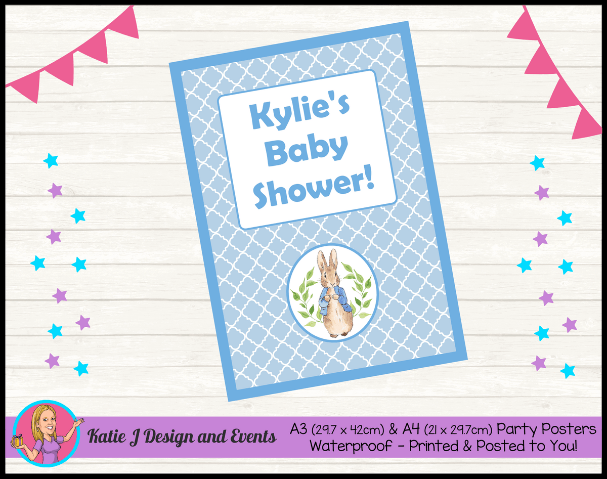 Personalised Peter Rabbit Baby Shower Poster