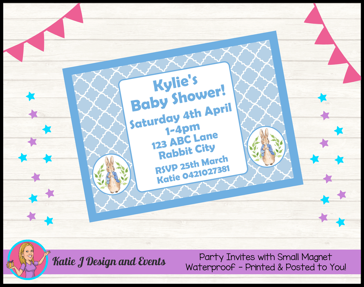 Personalised Peter Rabbit Baby Shower Invites Invitations