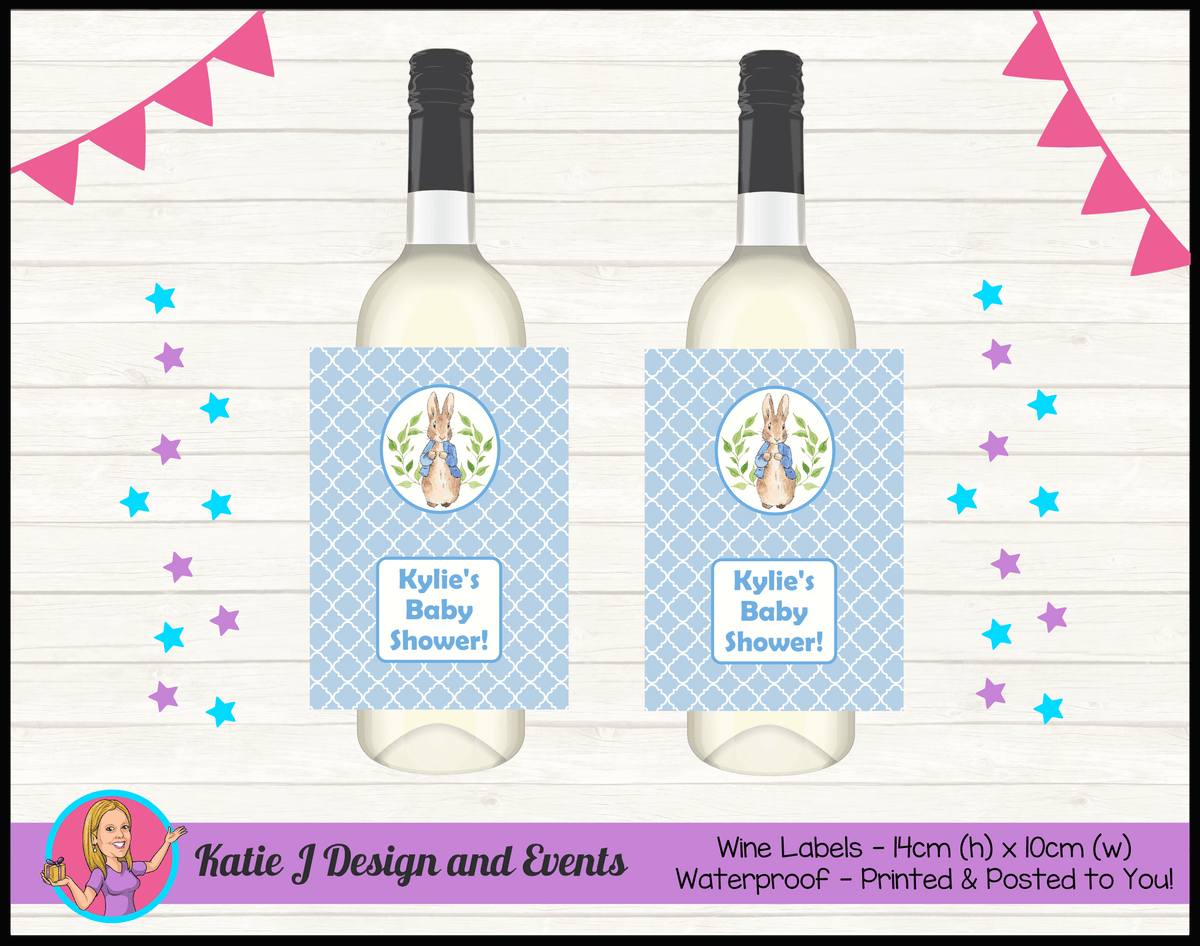Personalised Peter Rabbit Baby Shower Wine Labels