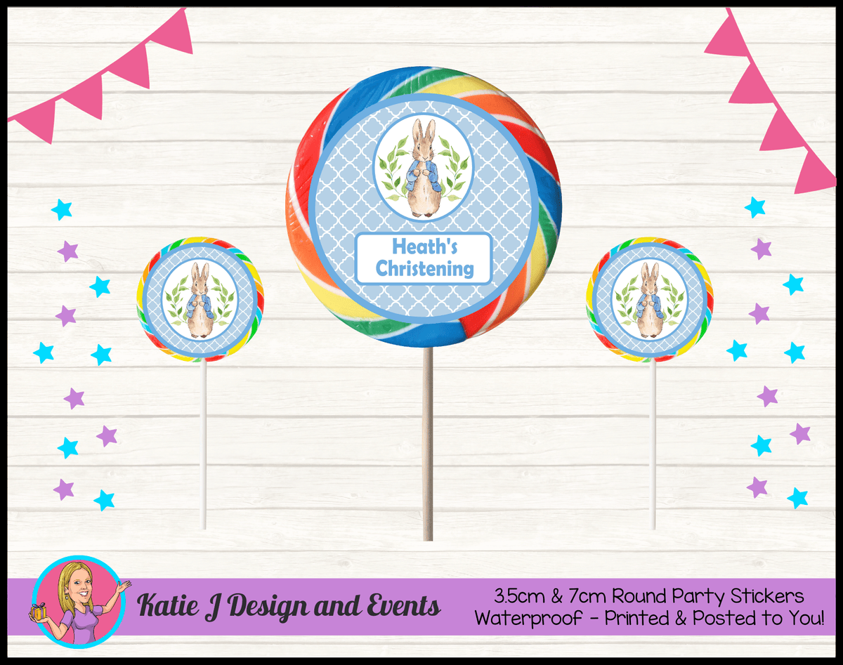 Personalised Peter Rabbit Christening Round Lollipop Stickers