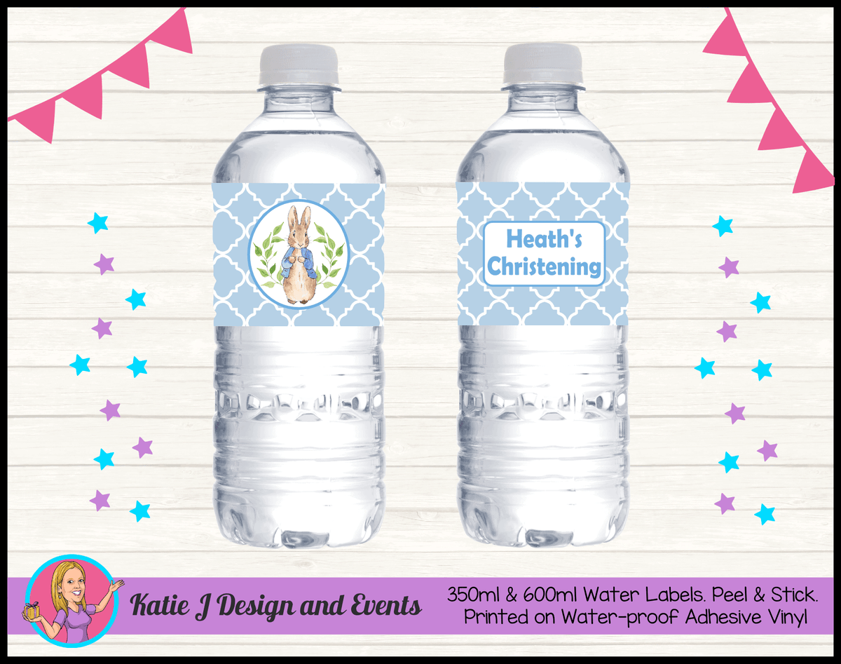 Personalised Peter Rabbit Christening Water Labels