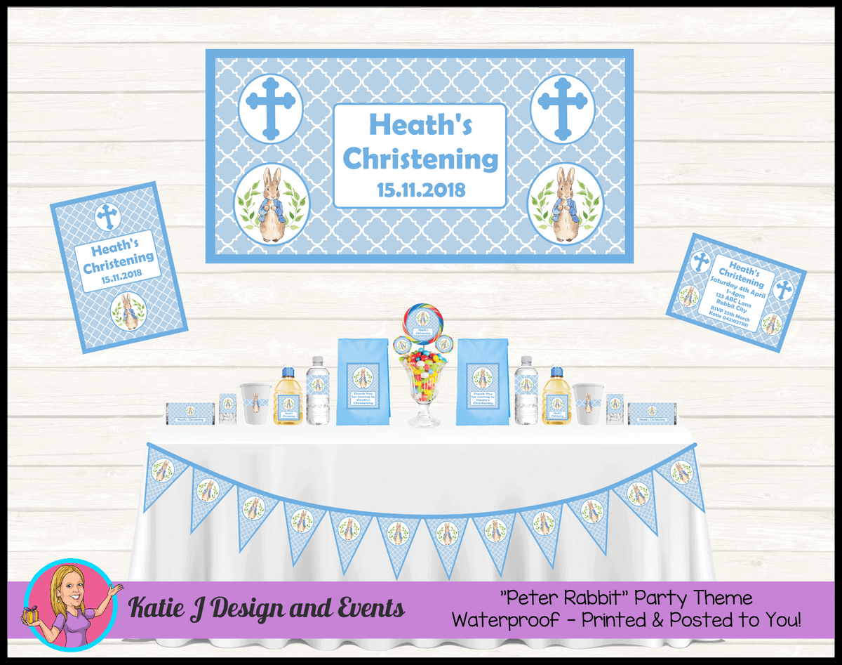 Personalised Peter Rabbit Christening Party Packs Decorations Supplies
