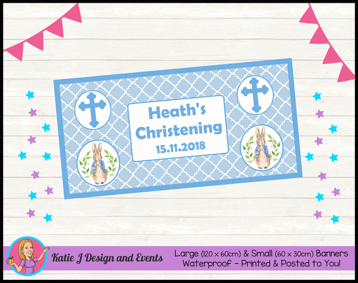 Personalised Peter Rabbit Christening Banner