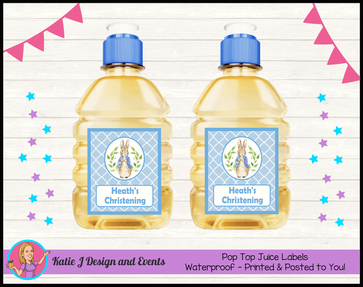 Personalised Peter Rabbit Christening Pop Top Juice Labels