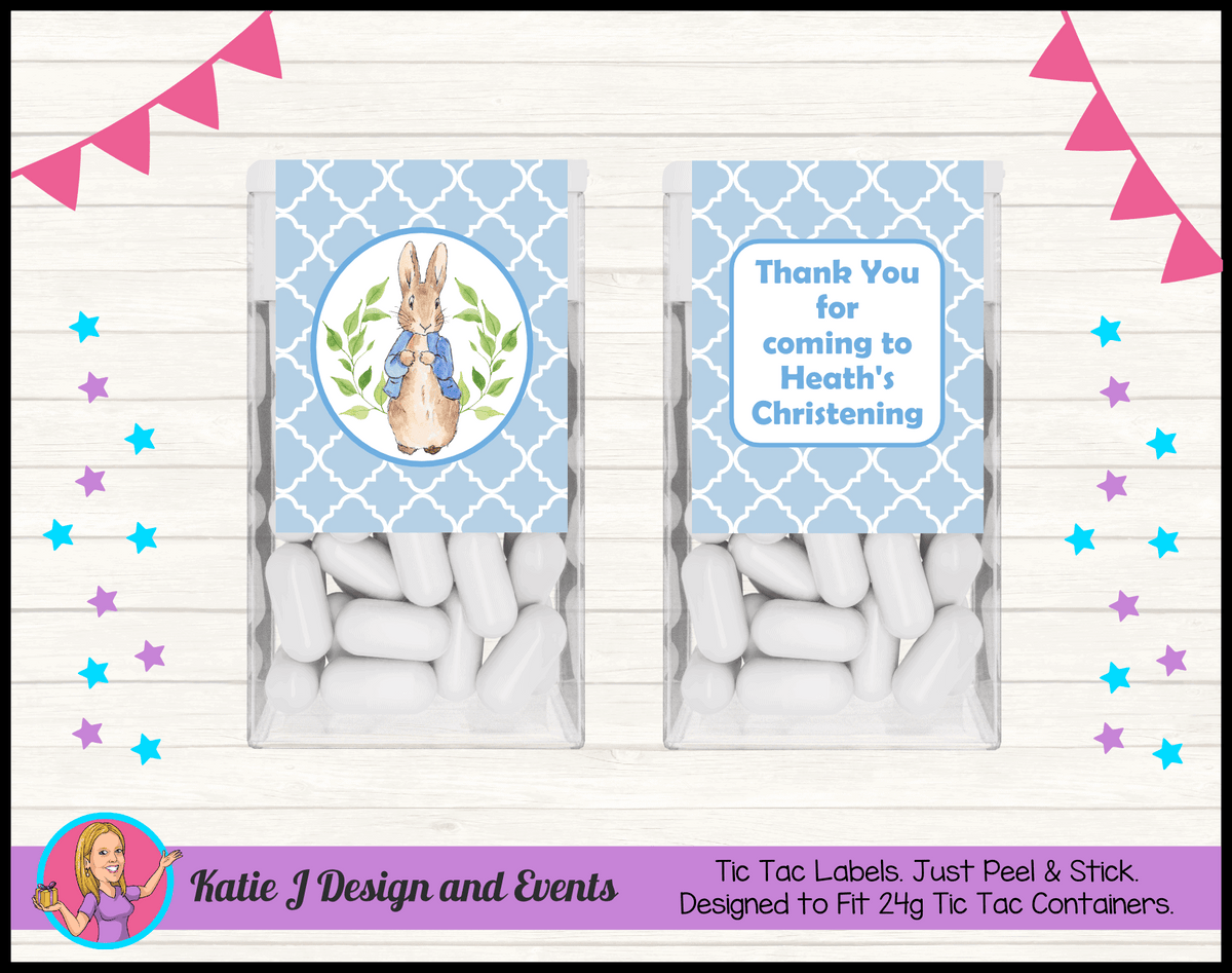 Personalised Peter Rabbit Christening Tic Tac Mint Labels