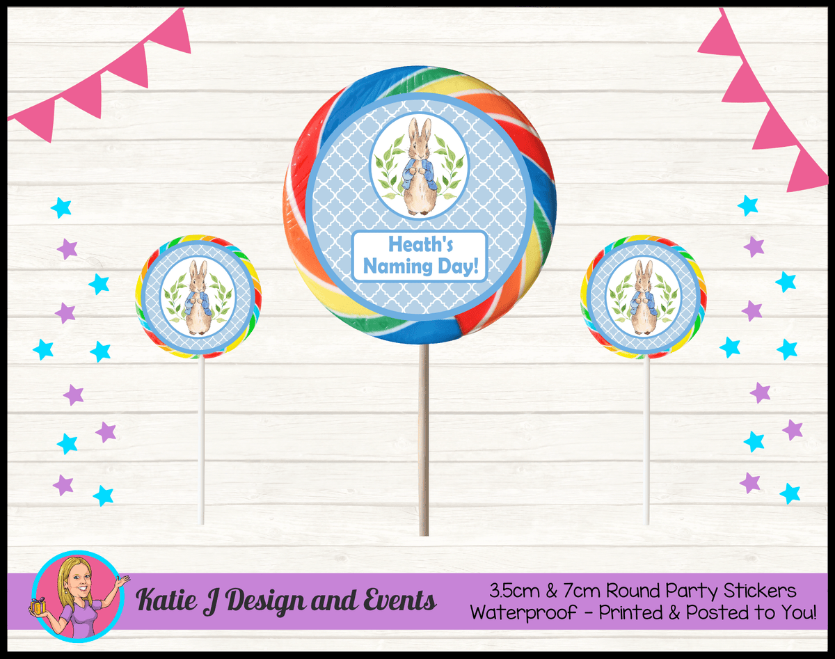 Personalised Peter Rabbit Naming Day Round Lollipop Stickers