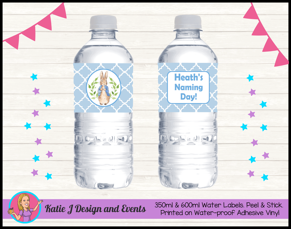 Personalised Peter Rabbit Naming Day Water Labels