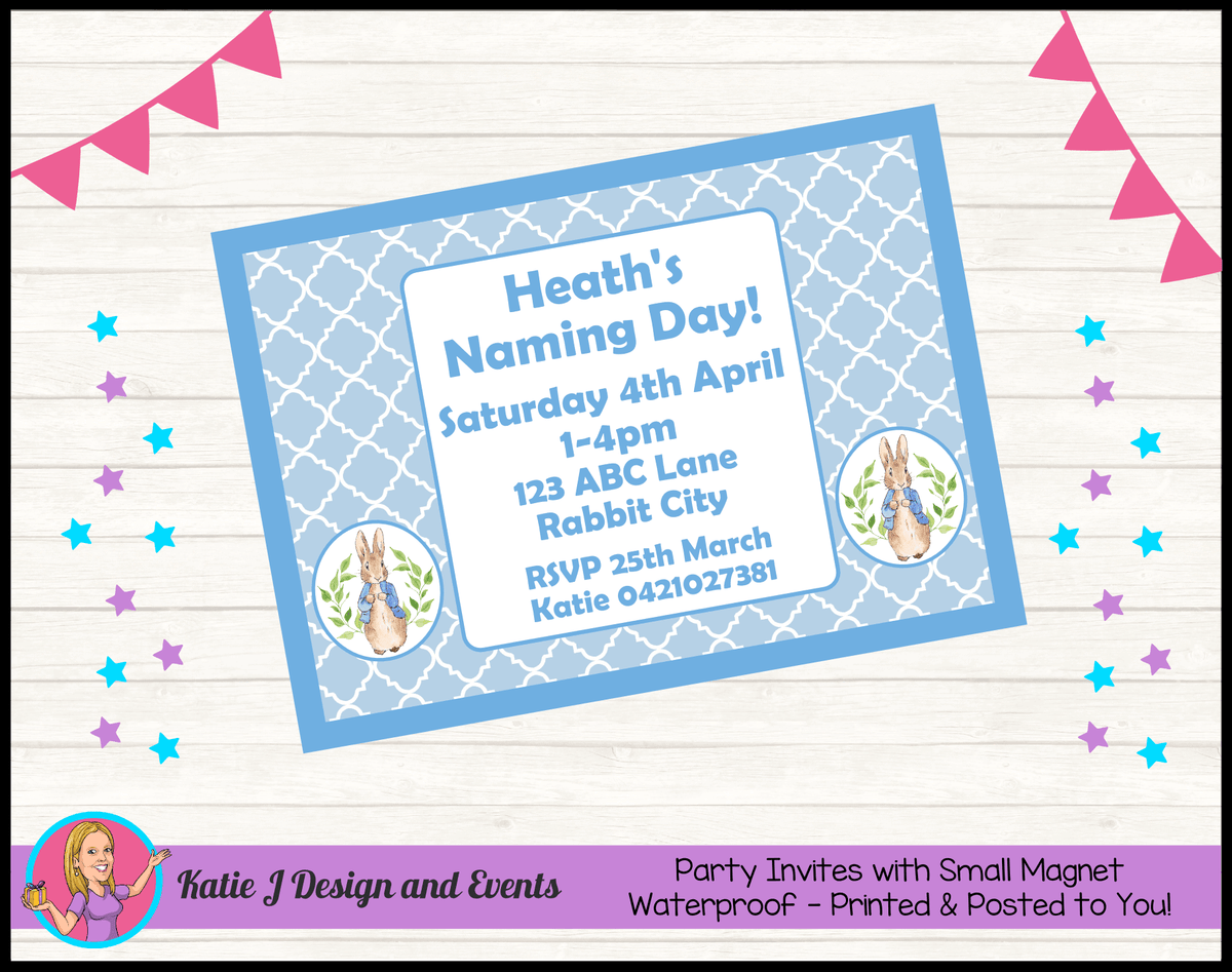 Personalised Peter Rabbit Naming Day Invites Invitations