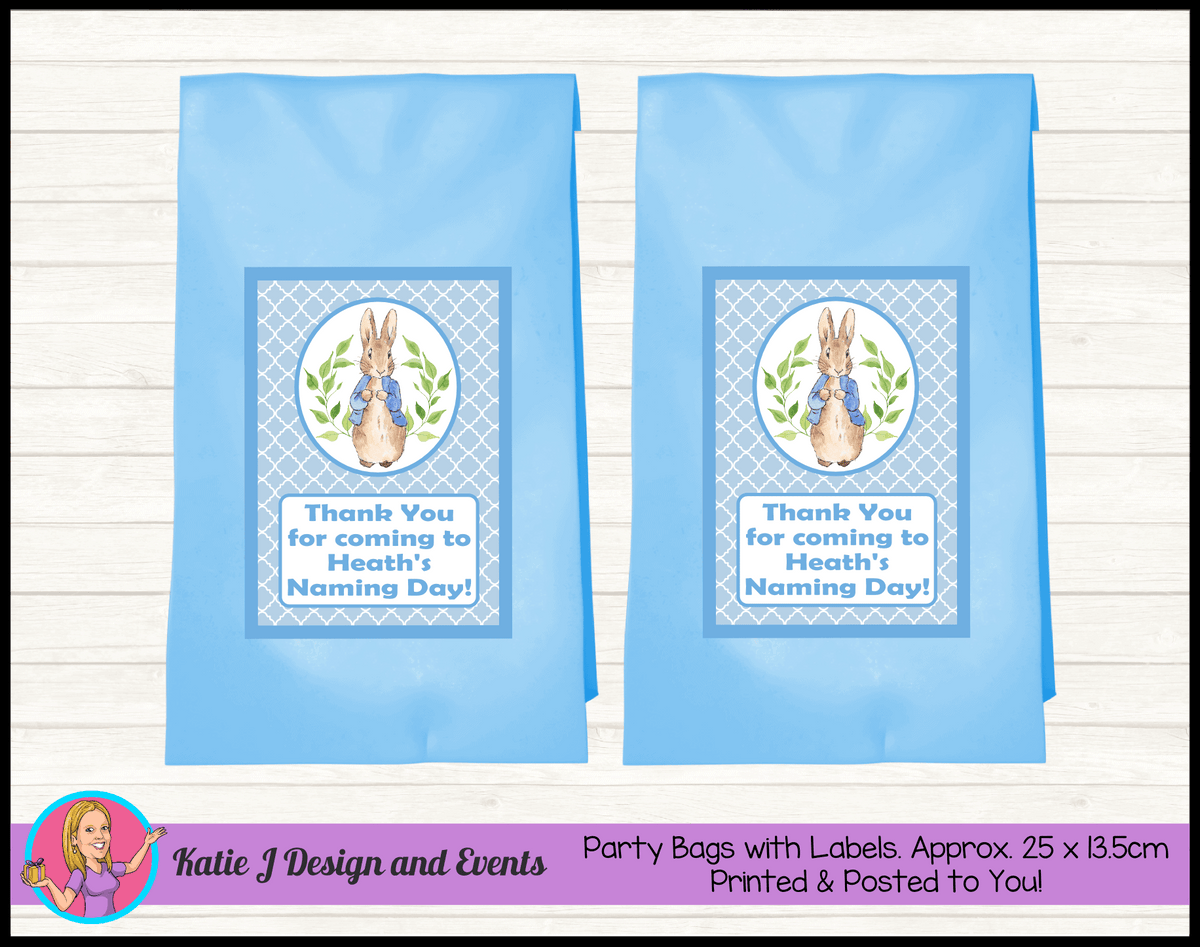 Personalised Peter Rabbit Naming Day Party Loot Bags