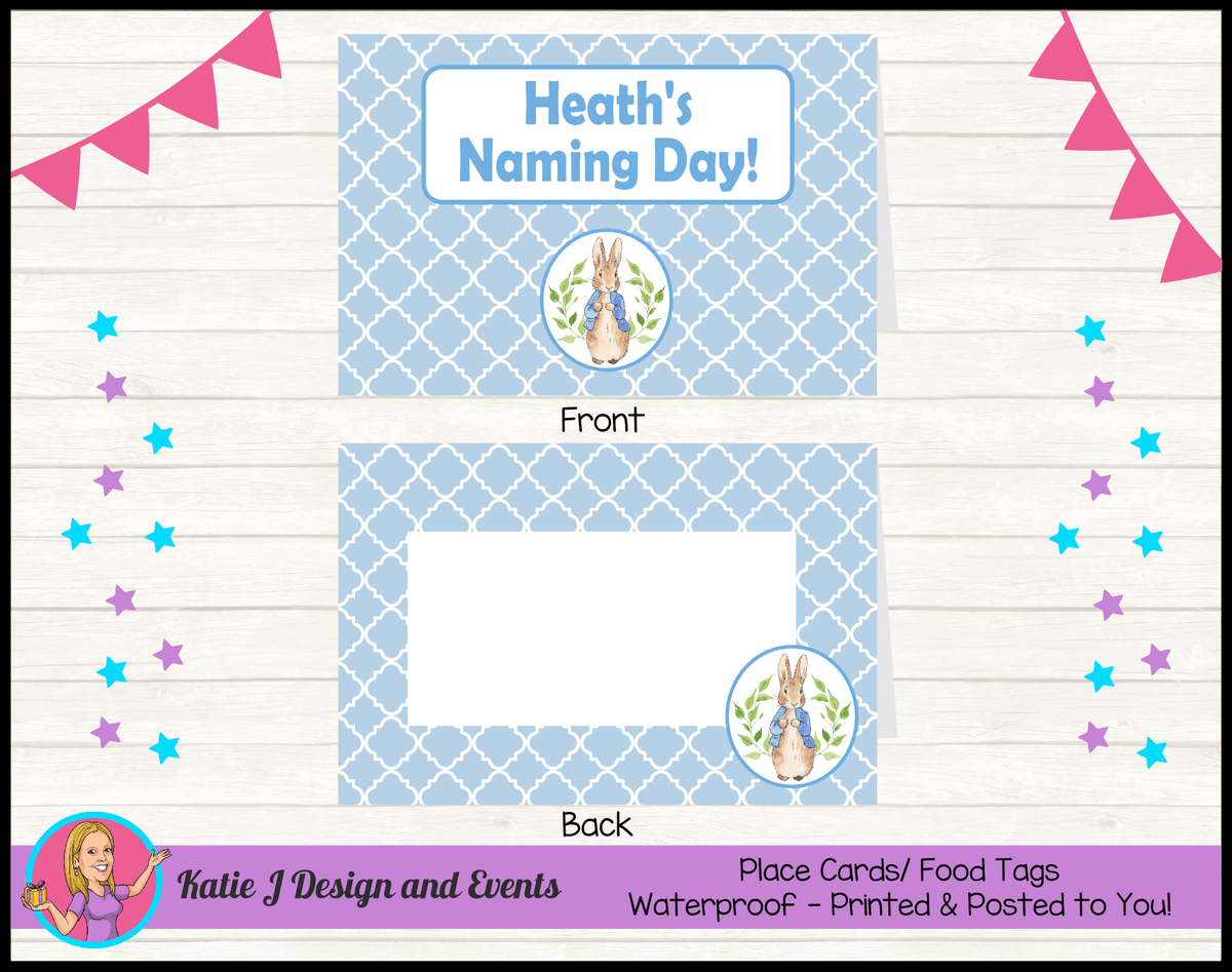 Personalised Peter Rabbit Naming Day Place Cards