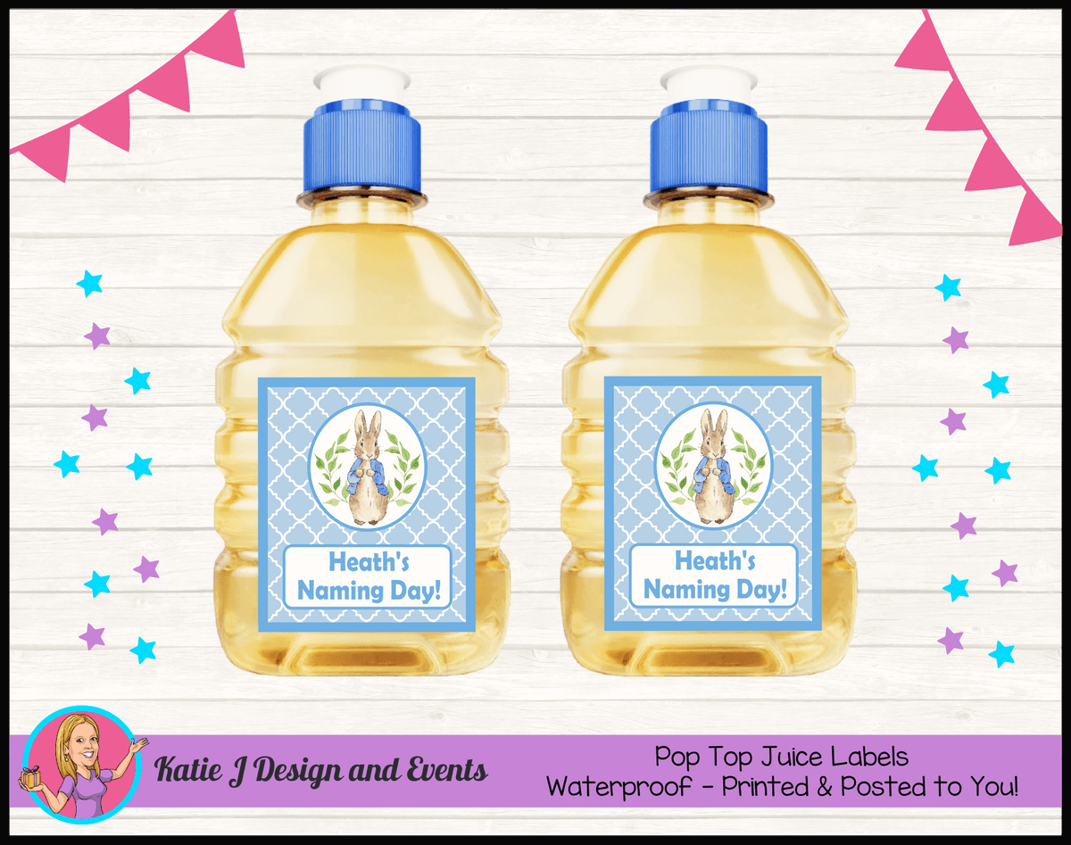 Personalised Peter Rabbit Naming Day Pop Top Juice Labels