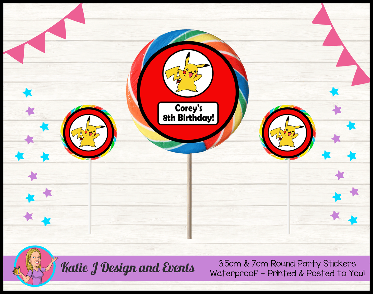 Personalised Pikachu Party Round Lollipop Stickers