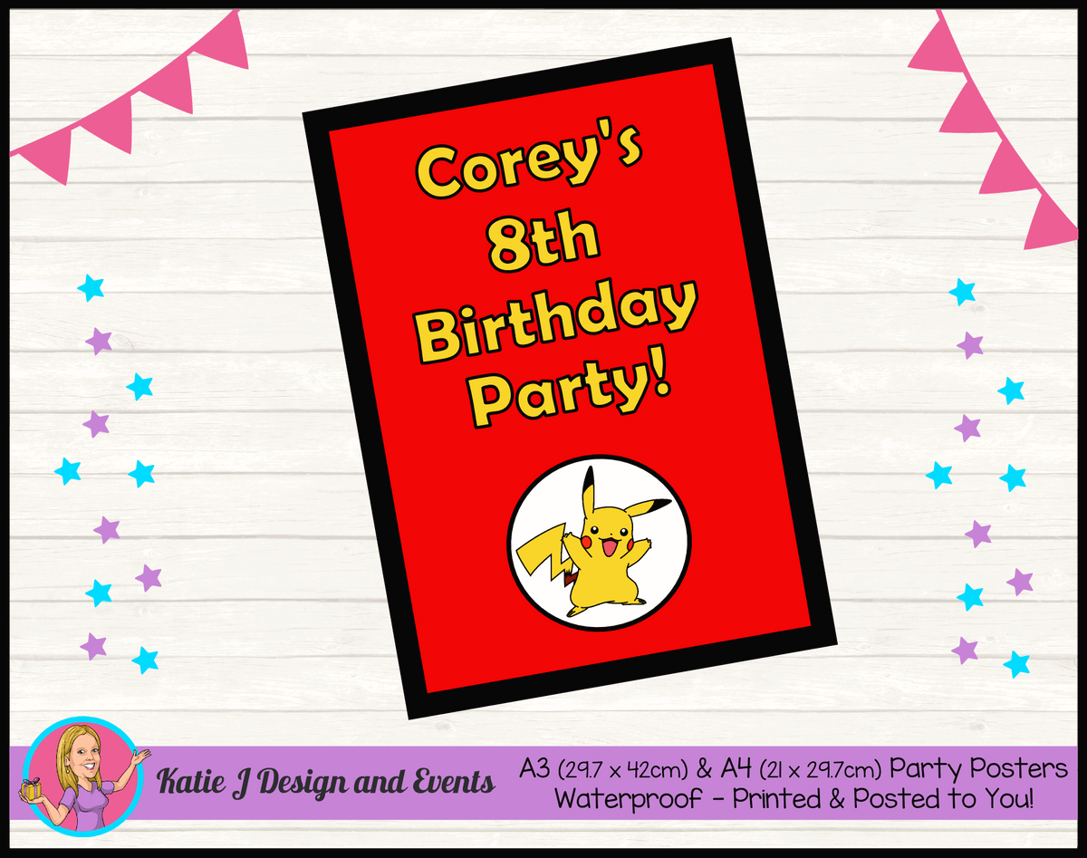 Personalised Pikachu Birthday Party Poster