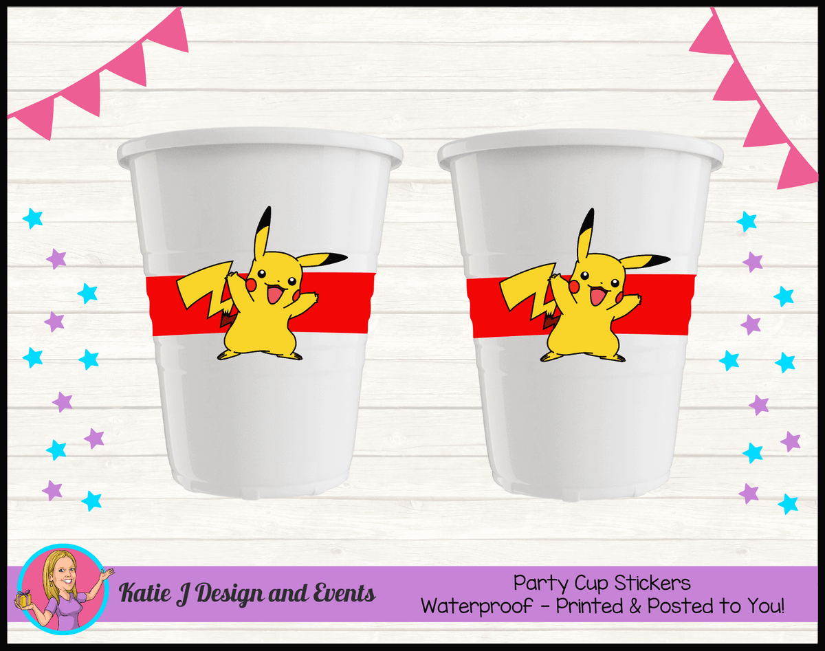 Personalised Pikachu Party Cup Stickers Cups