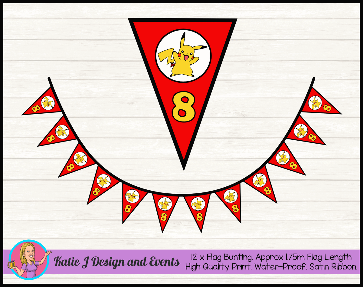 Personalised Pikachu Birthday Party Flag Bunting
