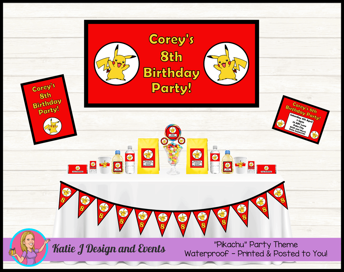 Personalised Pikachu Party Packs Decorations Supplies