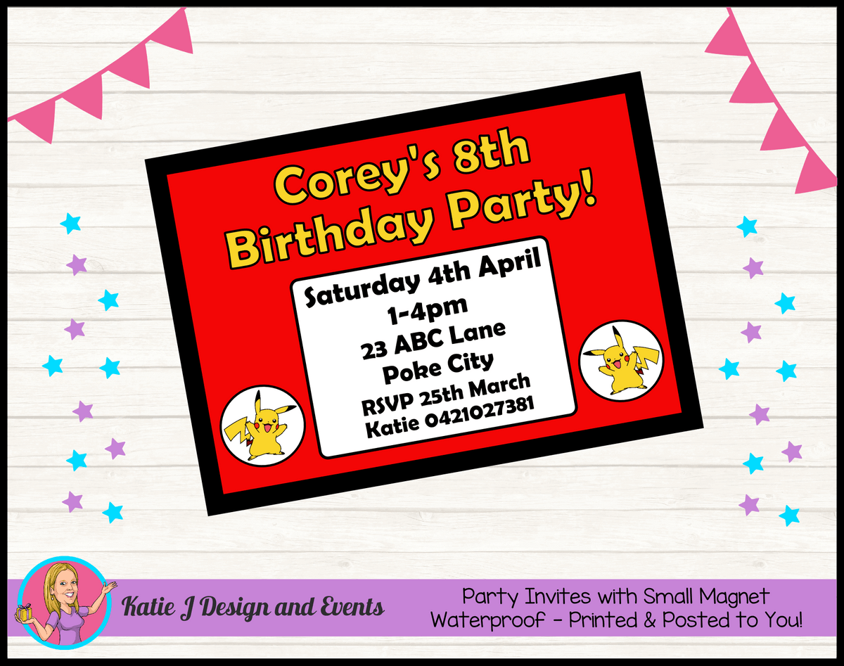 Personalised Pikachu Birthday Party Invites Invitations