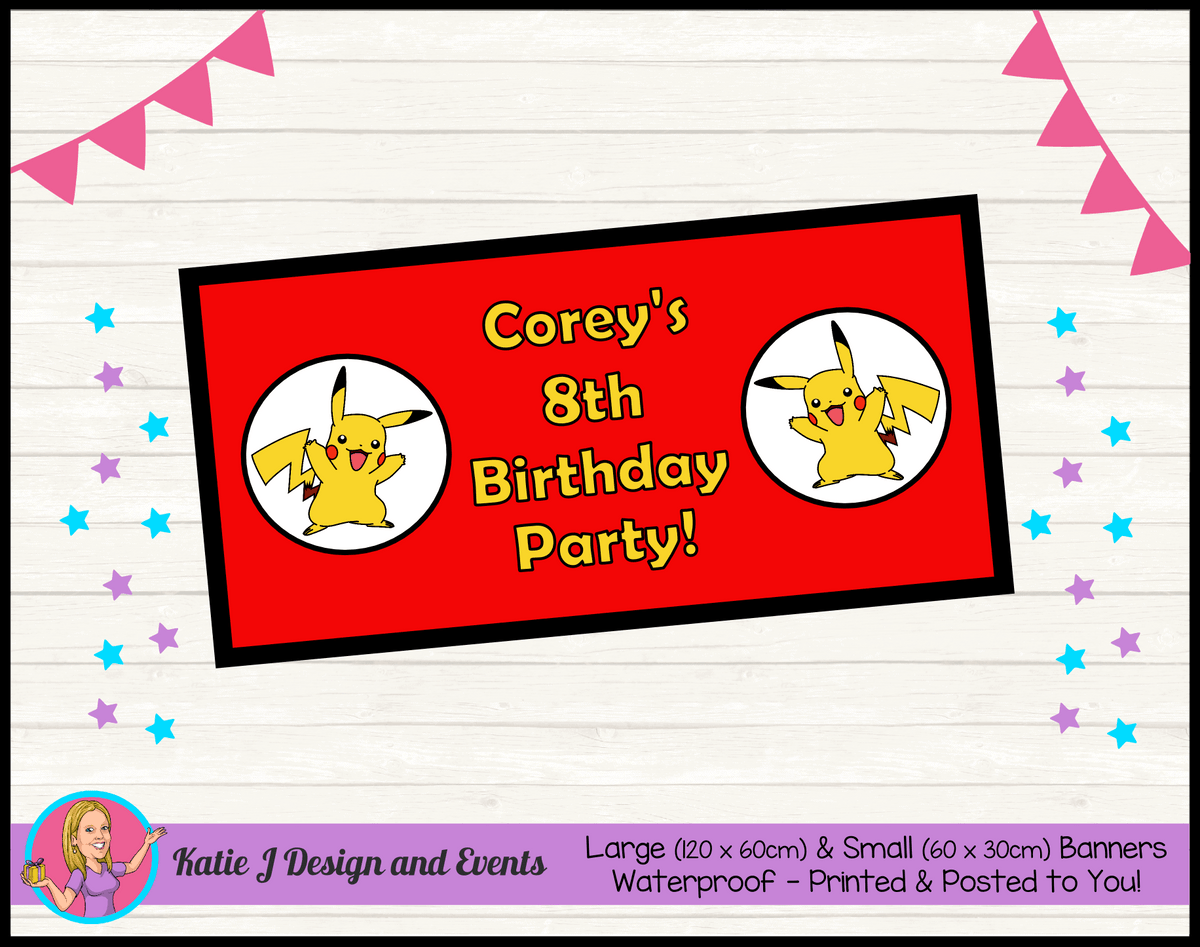 Personalised Pikachu Birthday Party Banner