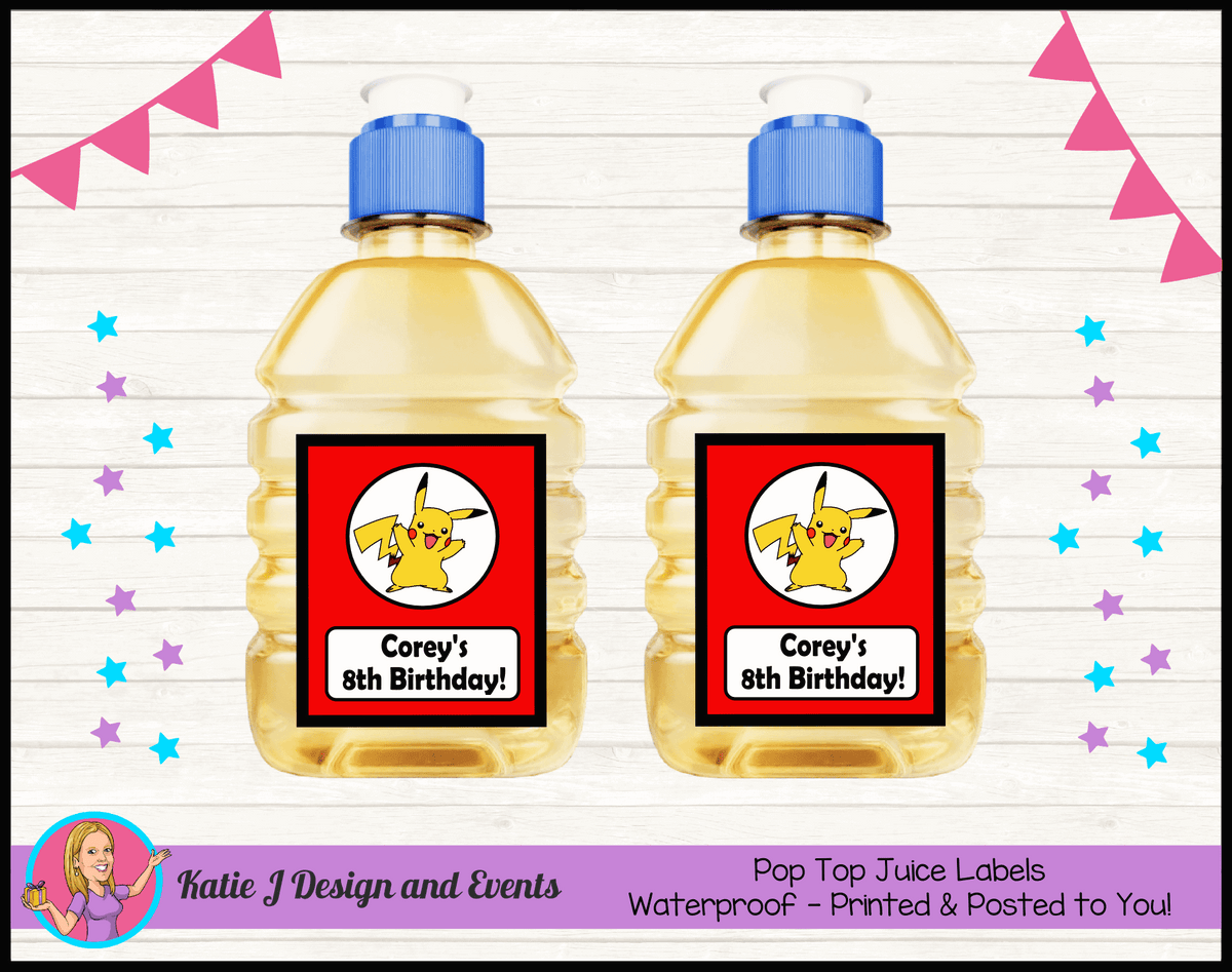 Personalised Pikachu Party Pop Top Juice Labels